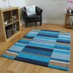 Kingston Navy, Blue & Beige Modern Checked Wool Rugs – 90x150cm