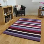Kingston Purple Aubergine & Pink Thick Stripe Wool Rug – 90x150cm
