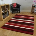 Kingston Warm Rich Red, Wine & Brown Striped Soft Wool Rugs –