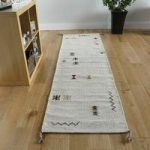 Modern Cream & Brown Tribal Wool Rug – Mensa – 68cmx235cm(2ft3 x7ft9 )