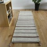 Modern Beige Striped Wool Rug – Mensa – 68cmx235cm(2ft3 x7ft9 )