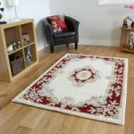 Traditional Cream & Red Wool Rug – Riga – 160x230cm (5'3 x 7'7 )