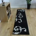 Shiraz Black and Cream Modern Runner Rug 1002-B11