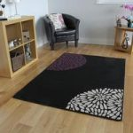 Shiraz Black and Purple Aubergine Modern Rug 1366-H11 80cmx150cm
