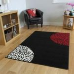 Shiraz Black & Red Modern Motif Rug 1366-R11 – 60cm x110cm