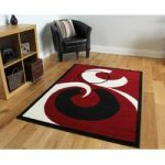 Shiraz Black, Red & Cream Modern Rug 5681-R51 – 120cm x 170cm (3ft 11