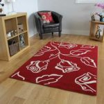 Shiraz Red Cream Floral Modern Rug 1347-R55 – 80cm x 150cm