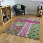 Milan Green Pink Blue Cream Shabby Chic Butterfly Kids Rug – 1657-U22