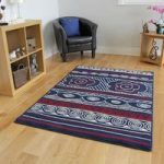 Milan Navy Red and Off White Nautical Yacht Shell Themed Modern Rug –