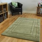 Cheap Plain Green Non Shed Carved Border Wool Rug Elements 75x150cm