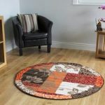 Milan Warm Terracotta Wine Patchwork Rug – 1568-S22 160cm (5ft 3 )