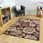 Milan Chocolate Brown Red Floral Rug – 1654-S22 80 cm x 150 cm (2'6 x