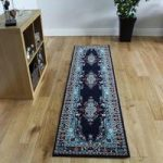 Elegant Vintage Royal Navy Patterned Rug – Kensington 70cm x 140cm