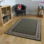 Stylish Green Victorian Bordered Pattern Rug – Kensington 185cm x