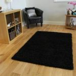 Luxurious Ultra Chic Black Anti Shed Shag Pile Rug – Ontario 110 cm x