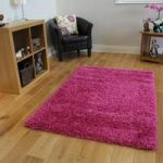 Luxury Pink Rose Colour Fast Dense Shaggy Rug – Ontario 80 cm x 150 cm