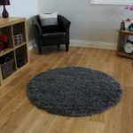 Super Soft Grey Chunky Anti Shed Shaggy Rug – Ontario 150cm (4ft11 )