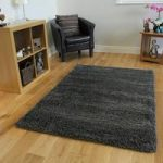 Super Soft Grey Chunky Anti Shed Shaggy Rug – Ontario 110 cm x 160 cm