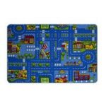 Kids Colourful Blue Play Town Village Cheap Rug