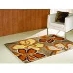 Taupe & Orange Carved Contemporary Rug Medow 120X170