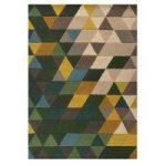 Green Carved Trellis Geometric Contemporary Rug 80X150