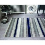 Ivory Blue Coastal Stripes Modern Wool Rug Pasto 80X150