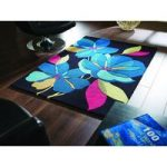 Black & Blue Carved Floral Contemporary Rug Jawa 120X170