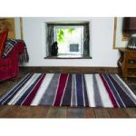 Brown Red Carved Stripe Contemporary Rug Jawa 120X170