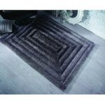 Black & Grey Steps Shaggy Rug Kiev 120X170