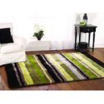 Green Striped Silky Shaggy Rug Tunis 80X150