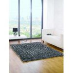 Black & Grey Spider Shaggy Rug Palmas 110X160