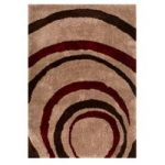 Brown & Red Swirl Modern Shag Rug Corfu 80X150
