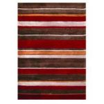 Brown & Red Modern Stipe Rug Brussels 80X150