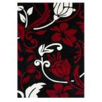 Red & Cream Damask Contemporary Rug Banbury 80X150
