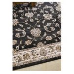 Black Vintage Bordered Traditional Rug Munich 160X230
