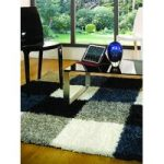 Blue, Grey Squares Shaggy Rug Petersberg 120X170