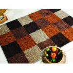 Orange & Brown Squares Shaggy Rug Petersberg 120X170