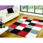 Red & Grey Squares Shaggy Rug Petersberg 80X150