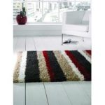 Black & Red Shaggy Striped Rug Petersberg 160X230