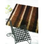 Chocolate Shaggy Striped Rug Petersberg 80X150