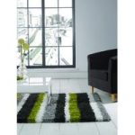 Green & Grey Shaggy Striped Rug Petersberg 80X150
