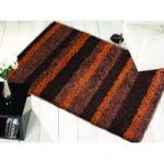 Orange & Brown Shaggy Striped Rug Petersberg 80X150