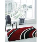Red & Black Shaggy Rug Petersberg 80X150