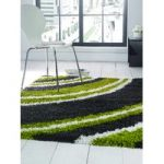 Green & Grey Shaggy Rug Petersberg 160X230