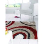 Black & Red Swirl Shaggy Rug Petersberg 160X230