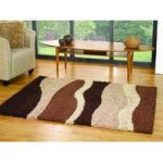 Brown & Natural Wave Shag Rug Petersberg 120X170