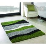 Green & Black Wave Shag Rug Petersberg 80X150