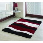 Red & Black Wave Shaggy Rug Petersberg 80X150
