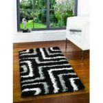 Black & Grey Maze Shaggy Rug Petersberg 80X150