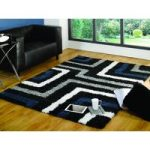 Blue, Grey Maze Shaggy Rug Petersberg 200X290